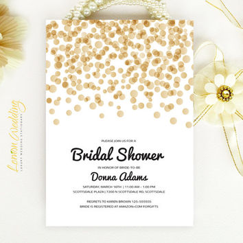 8a83ee444aaec Bridal Shower Invitation - Gold and black confetti wedding shower  invitation Printed on luxury white or cream pearlescent paper