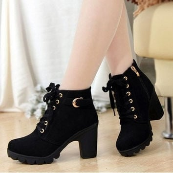 Women Pumps European PU Leather Boots Ladies High Heel Fashion Motorcycle Boots Pumps Women Shoes [8238489863]
