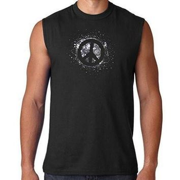 Mens Glitter Peace Muscle Tee Shirt
