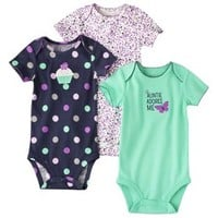 JUST ONE YOU® Made by Carters Infant Girls' 3 Pack Bodysuit - Purple/Navy