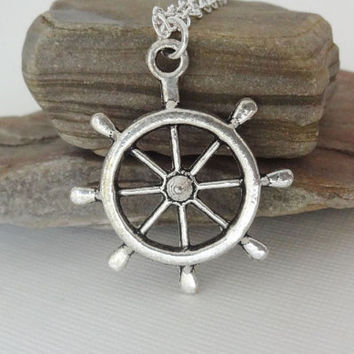 Helm Necklace, Ship's Wheel Necklace, Tibetan Silver, Rhodium Plated Chain, Non-Tarnish
