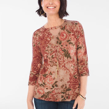 Chico's Floral Keyhole Detail Pullover