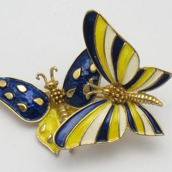 BOUCHER Figural Double Butterfly Trembler Brooch Pin