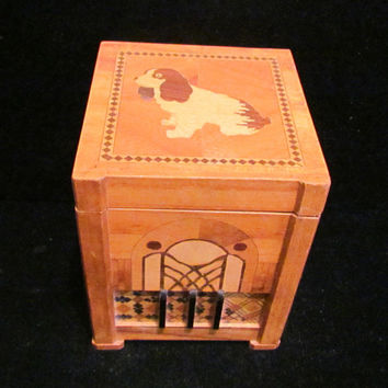 Vintage Cigarette Dispenser 1940's Cigarette Box Wooden Cigarette Box Dog Dispenser Box Working Dispenser