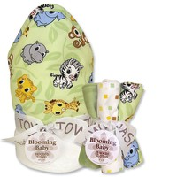 Trend Lab Chibi Zoo 6-pc. Hooded Towel & Washcloth Bouquet Set (Green)