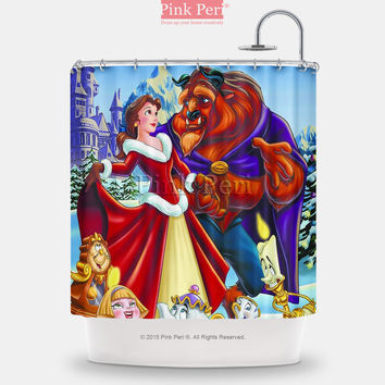 Beauty and the Beast Disney Christmas Shower Curtain Free shipping Home 077