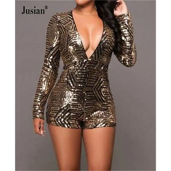 Jusian Women's  Backless Playsuits Sequins Long Sleeve Jumpsuits V-Neck Short Bodysuits Black Gold Khaki N271