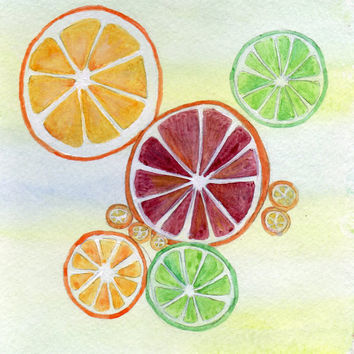 Citrus Fruits Watercolor Painting, Food Painting, Kitchen Art, Home Decor Painting