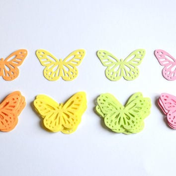 120 Paper Pastel Coloured Monarch Butterflies / Scrapbooking supplies, Butterflies, Multicoloured, Card butterflies, Paper butterflies