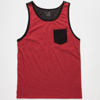 Blue Crown Color Block Mens Pocket Tank Red  In Sizes