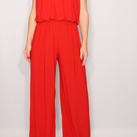 Womens jumpsuit Red jumpsuit Wide leg jumpsuit Halter jumpsuit