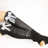Leather Leg Warmer, Lace Boot Socks, Leather Socks, Knitted Leg Warmer, Black Leather Boot Socks.