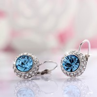 T400 Jewelers Swarovski Elements Crystal Round Shape Hoop Earrings Women Jewerly in Gift Box