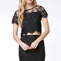 Reverse Lady Lace Set - Womens Dress - Black