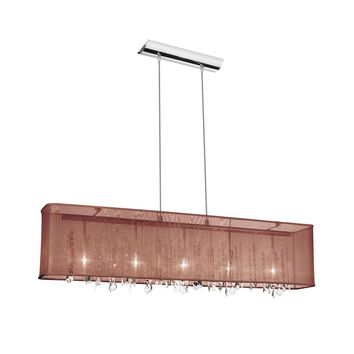 Dianolite 5 Light Horizontal Crystal Chandelier, Polished Chrome, Brown Organza Rectangular Shade
