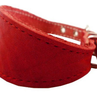 """Red Real Leather Tapered Dog Collar 1,5"""" Wide, Fits 8.5""""-10.5"""" Neck, Small, Dachshund"""