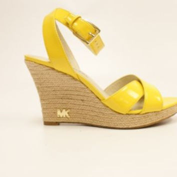 Michael Kors Kami Ankle Strap Women Citrus Peep Toe Wedges Heels Shoes
