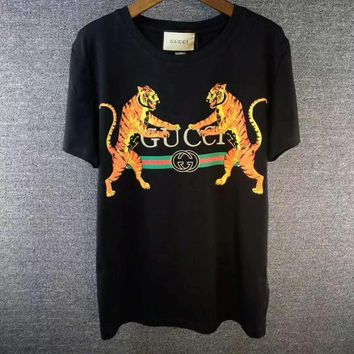GUCCI Tiger Fashion Print Round Neck Tunic Shirt Top Blouse