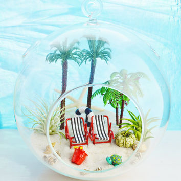 "Beach Resort Terrarium ~ Tall Palm Trees ~  Beach Chairs ~ Air plants ~ 7"" Glass Round Globe ~ Beach Decor ~ Great Gift Idea"