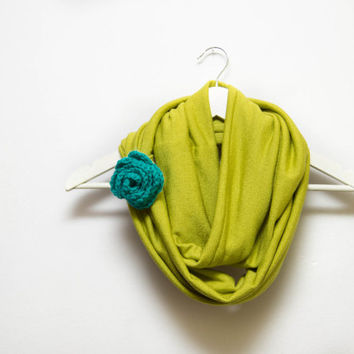 Lime Green Infinity Scarf, Unique Scarf with a Hand Knit Rose, Spirng Scarf, Fashion Scarves, Lime Green Shawl, Cuff Circle Scarf