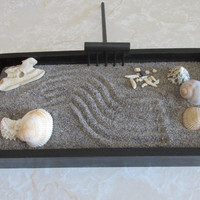 Zen Garden, painted rocks, beach theme, driftwood, lady bug, Black zen box