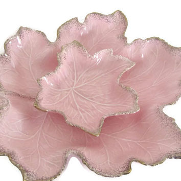 Vintage Pink Leaf Bowls, 1950's California Pottery Pink and Gold Leaf Dish, Pink Maple Leaf Dish, Ceramic Leaf Dish, Mid Century Decor
