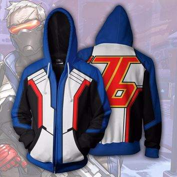 Comic Anime Overwatch SOLDIER:76 Hoodies Cosplay Suit Christmas Gift