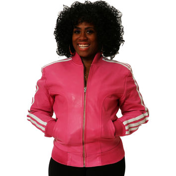 Womens Leather Jacket Pink Track Celebrity Style ( Pharrel Williams ) Nappa Sheepskin