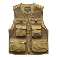 Summer Autumn Hollow Out Hole Mesh Casual Vests Male with Many Pockets Men Sleeveless Jacket Waistcoat Military Style Cargo Vest