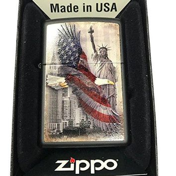 Zippo Custom Lighter - USA Eagle & Statue of Liberty - Black Matte
