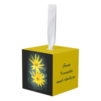Two yellow flowers of Jerusalem artichoke Cube Ornament