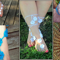Crochet Barefoot Sandals, Goddess Soleless Sandals, Beach Flower Jewelry, Hippie, Boho, Pool  Toe Thongs