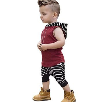 Newborn Infant Baby Boy Girl Clothes Cool Design Hooded Vest Top T shirt Pants Outfits Toddler Kids Clothing Set
