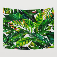 Green  Banana Leaf Rainforest Tapestry Wall Hanging Nature Landscape Tropical Palm Forest Wall Decor Art for Bedroom Living Room Dorm