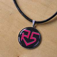 R5 Logo necklace - 1 1/5 inch / 30mm round silver resin pendant with leather cord