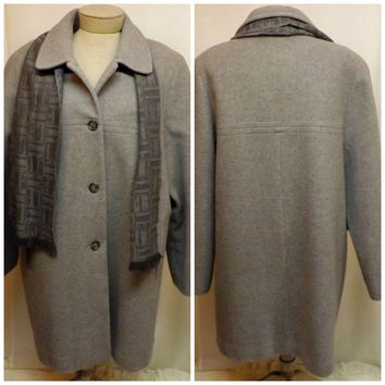 80s Vintage Womens London Fog Gray Wool Coat or Jacket Size 18