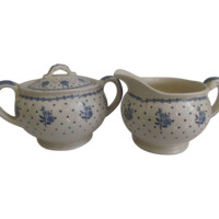 Grindley Sugar Creamer Set in the Tewkesbury Pattern Hard to Find Blue Flowers Dots Kitchenware
