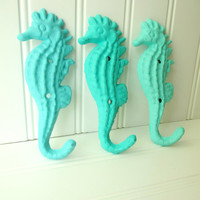 20% OFF Set of 3 Bahama Ocean Breeze Sea Breeze Cast Iron Seahorse Hooks- Nautical Decor, Nautical Bathroom, Beach Decor, Coastal Decor
