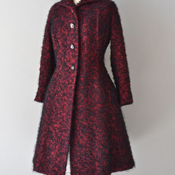 Far and Away coat • vintage 1940s princess coat • boucle wool 40s coat