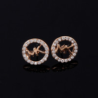 Alphabet Accessory Stylish Simple Design Diamonds Earrings [8573752013]