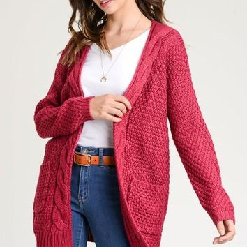 Cable Knit Cardigan in Berry