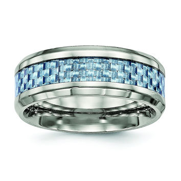 Titanium Polished Blue Carbon Fiber Inlay Ring TB463
