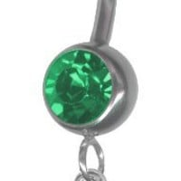 Turtle Belly Ring with Emerald Green Jeweled Barbell-Stainless Steel 14 gauge 3/8 Barbell-Sterling Silver Turtle Belly Button Ring-Navel Ring