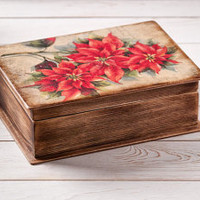 Wooden Book Shaped Box Christmas Poinsettias Jewelry Keepsake Photo Box Old World Charm Stash Box Secret Library Vintage