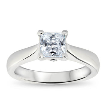 Princess Cut Solitaire Moissanite Engagement Ring - Nicolette