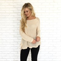 Smile Often Knit Sweater in Cream