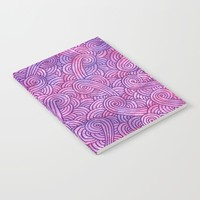Neon pink and purple swirls doodles Notebook by Savousepate