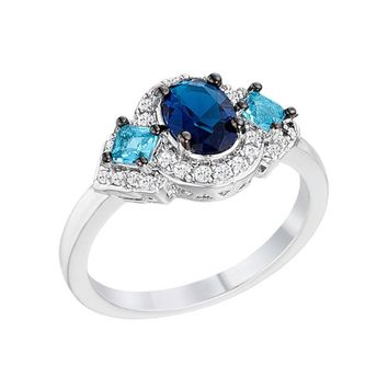 Elsa - Women's Rhodium Plated Blue And Clear CZ Three Stone Engagement Ring
