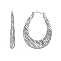 Sterling Silver with Rhodium Finish Stampato Mesh Fancy Oval Hoop Earrings