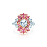 Tiffany & Co. - Ring in platinum and 18k rose gold with pink and white diamonds.